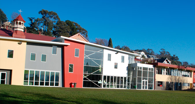 A photo of the exterior of some of the buildings that make up Sacred Heart Catholic Primary School